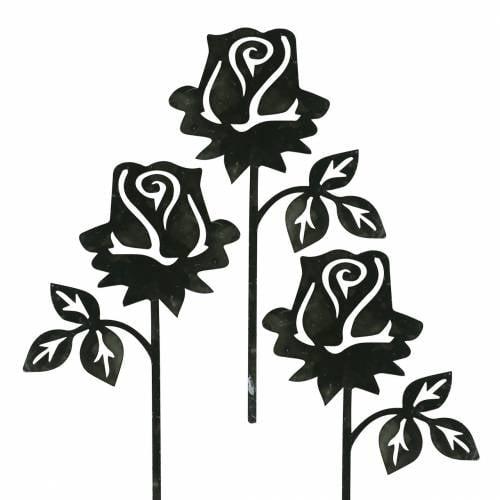 Metal plug rose silver-gray, white washed metal 20cm × 11.5cm 8pcs