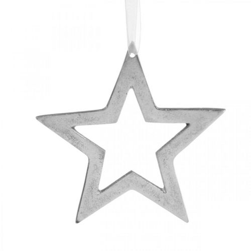Star for hanging silver aluminum Christmas decoration 15.5 × 15cm