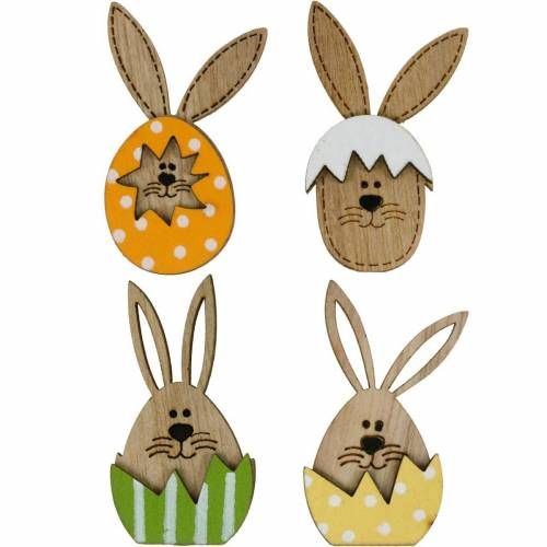 Litter decoration bunny in egg, gift decoration, bunny egg to decorate, wood decoration to stick on 12pcs