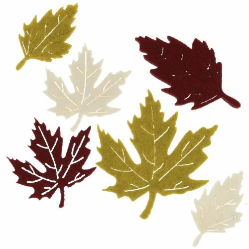 autumn leaves felt Bordeaux / cream / green 72pcs