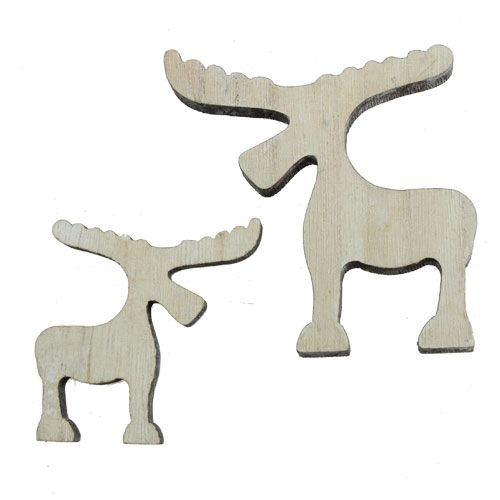 scatter wooden moose white washed 30pcs