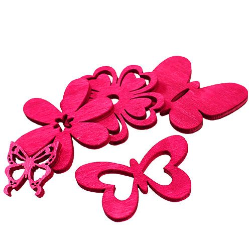 Wooden Scatter Decoration Pink Assorted 2cm - 4cm 72pcs