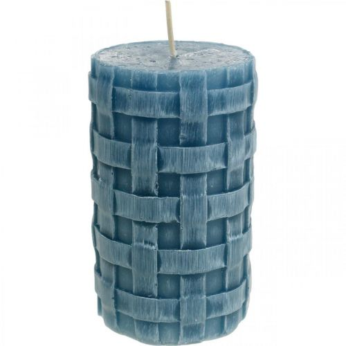 Pillar candles blue, wax candles Rustic, candles with braided pattern 110/65 2pcs