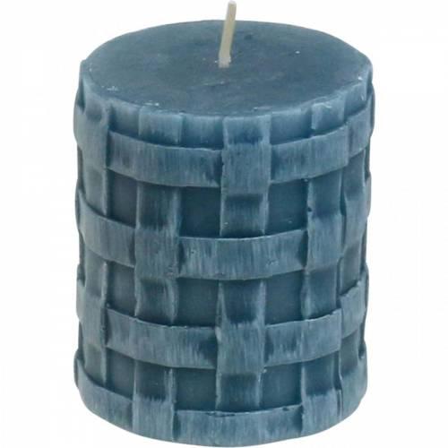 Pillar candles rustic blue 80/65 candles rustic 2pcs