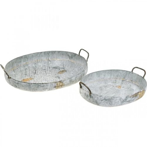 Metal bowl with handles, planter, decorative tray, antique look, white washed L51 / 40.5cm, set of 2