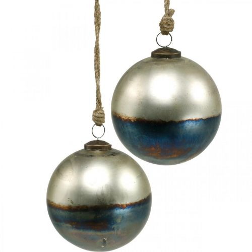 Christmas balls two-colored glass ball Ø12cm blue, metallic 2pcs