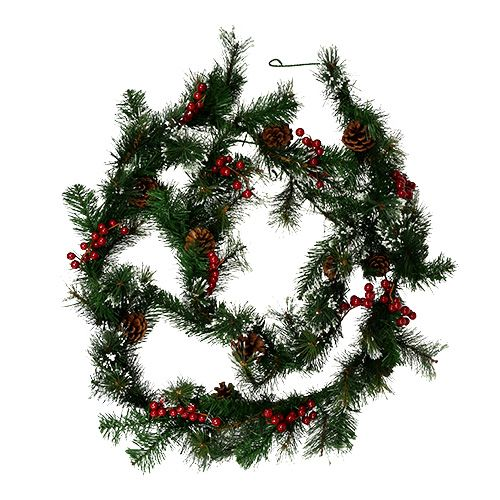 Fir garland with cones and berries 270cm