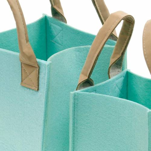 Decorative planter, felt mint green, felt basket with handles, felt decoration, set of 2