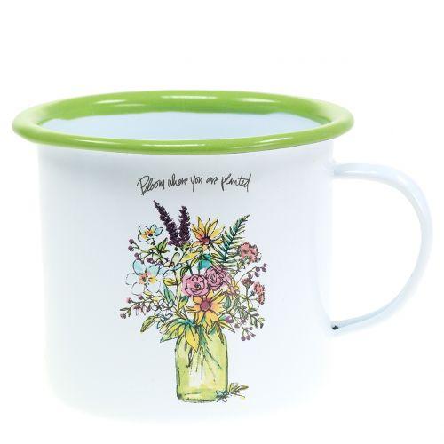 Deko cup plant pot enamelled Ø11,5cm H10cm