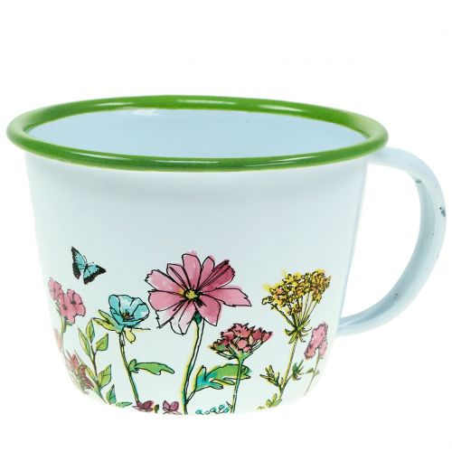 Deko cup plant pot enamelled Ø11cm H8cm