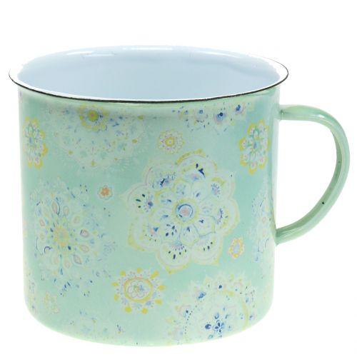 Deko cup plant pot mandala enamelled Ø13cm H12cm