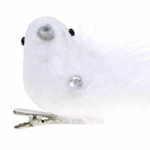 Dove on the clip white 14cm 2pcs