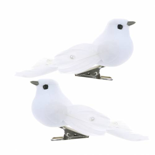 Pigeon with pearls and clip white H4.5cm 12pcs
