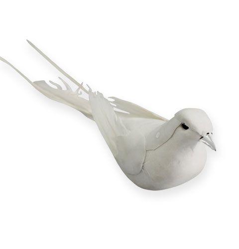Decorative pigeons on the wire White 16cm 4pcs