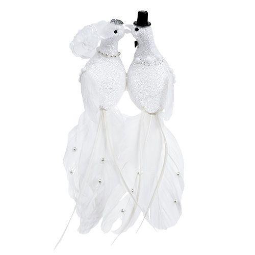 Dove pair 22cm on the clip white