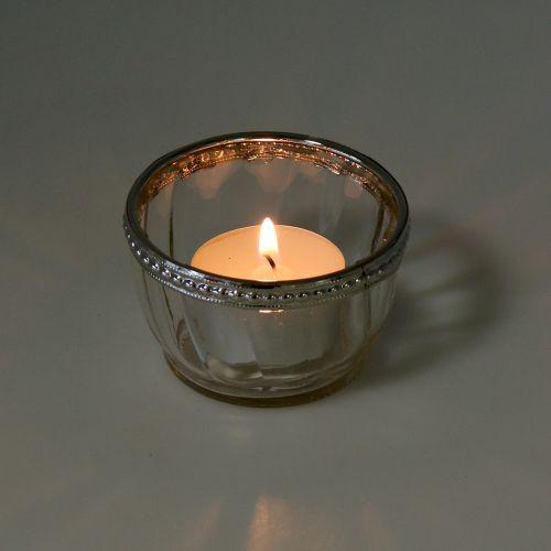 Tealight glass antique with metal edge Ø7cm H4cm