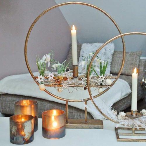 Candle glass, decorative lantern, table decoration antique look Ø9.5cm H10cm 4pcs