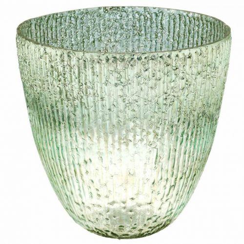 Candle glass lantern blue green table decoration glass Ø21cm H21.5cm