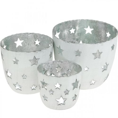 Christmas decoration tealight holder white with stars metal Ø12 / 10 / 8cm set of 3
