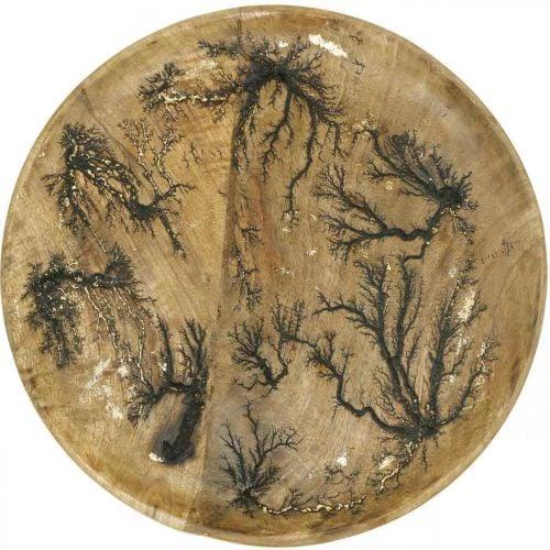 Decorative plate wood nature, gold crackle effect mango wood Ø30