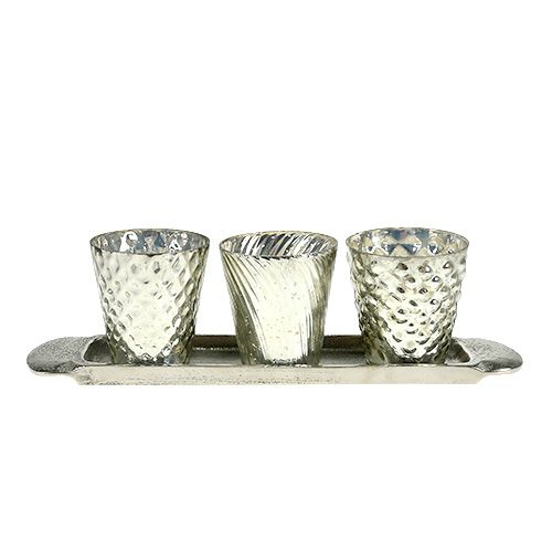 Table top plate with 3 tealight glasses silver Ø7cm H8cm