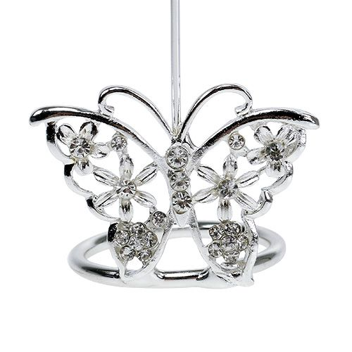 Placecard holder Butterfly 3,5cm silver 6pcs