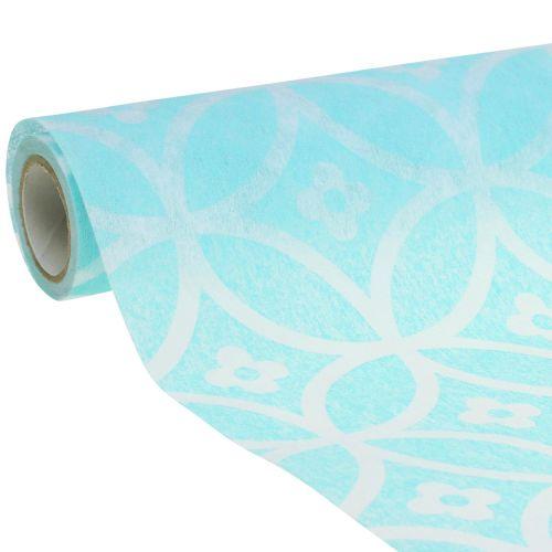 Table runner with pattern light blue 30cm x 300cm