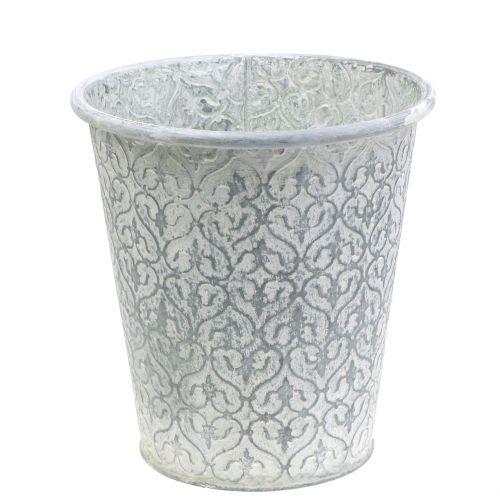Zinktopf with decor cream washed Ø19cm H20cm