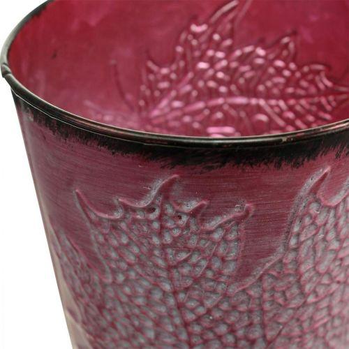 Planter with leaf decoration, metal vessel, autumn, wine-red plant pot Ø10cm H10cm