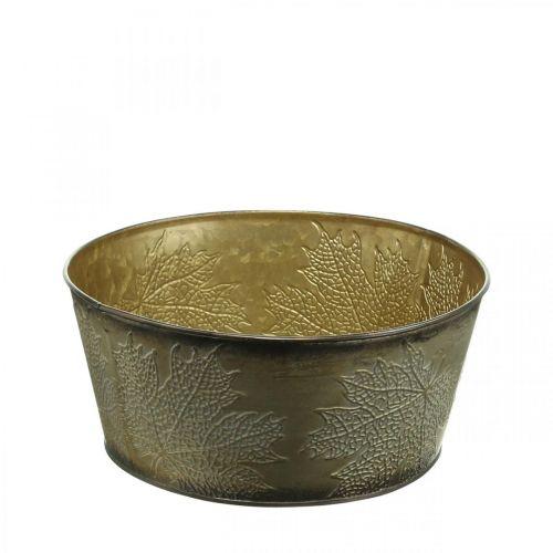 Autumn bowl, metal pot with leaf decoration, golden plant pot Ø25cm H10cm