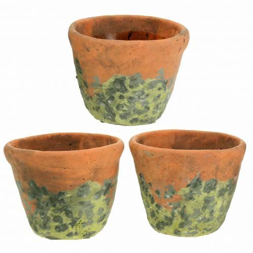 Plant pot planter vintage natural clay Ø11.5cm H9cm 3pcs