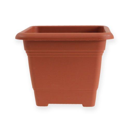 "Pot ""Nora"" 14cm x 14cm H11cm terracotta effect, 1pce"
