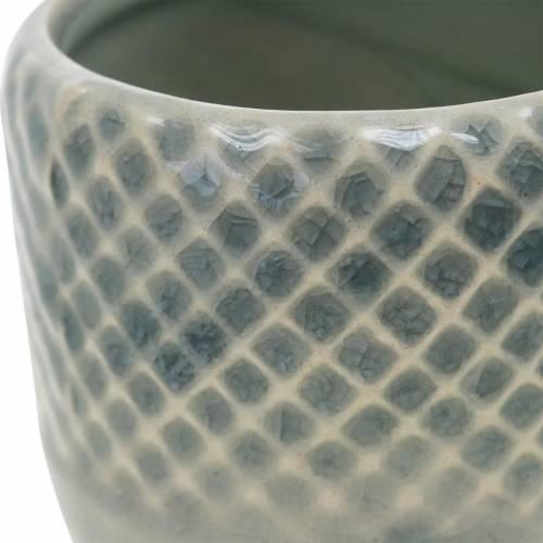 Mini planter, ceramic lantern, plant pot, ceramic decoration with basket pattern Ø8.5cm 6pcs