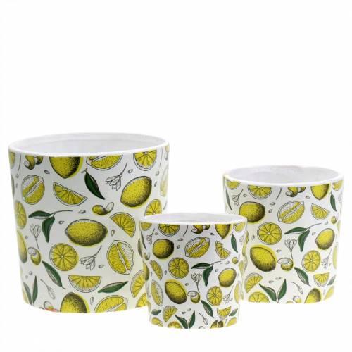 Planter Lemon Yellow Ø8/10/13cm Set of 3