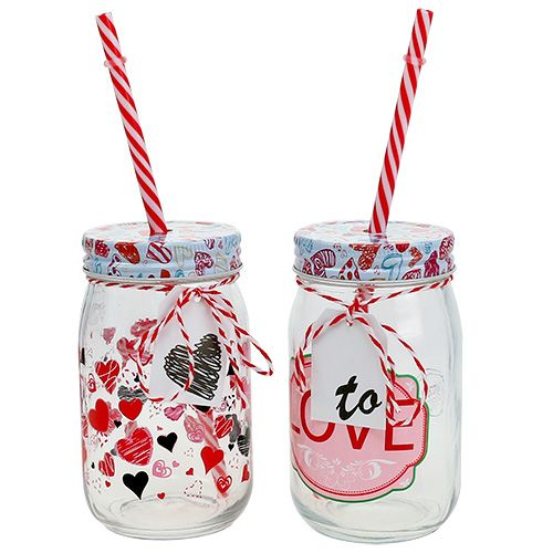 Drinking glass with lid and straw H13,5cm 2pcs