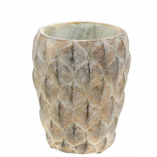 Planter vase concrete with leaf motif Ø14,5cm H18cm