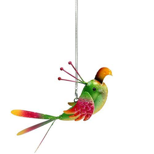 Bird for hanging green, pink, orange 18,5cm