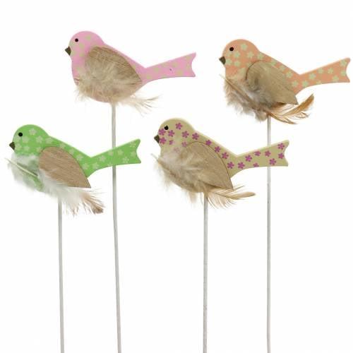 Decorative plug bird wood green, pink, yellow, orange assorted 7cm x 4cm H24cm 16pcs