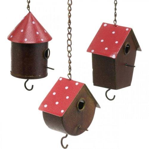 Decorative nest box, birdhouse to hang, autumn, bird feeder, metal decoration H14–12cm L34–37cm