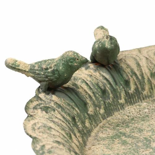 Bird bath on metal base antique moss green beige Ø28.3cm H26.5cm