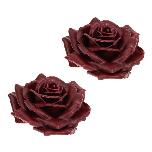 Wax rose dark red Ø10cm 6pcs