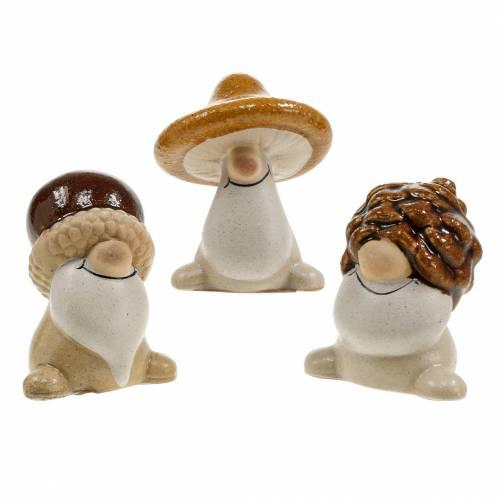 Ceramic figurine set forest gnomes autumn fruits 6 - 6.3cm brown / yellow 3pcs