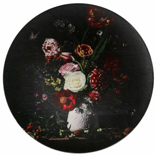 Wall plate with floral pattern Ø33cm