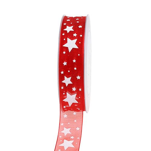 Christmas ribbon red organza with stars 25mm 20m