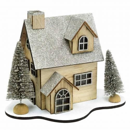 Christmas house with LED lighting nature, glitter wood 20 × 17 × 15cm