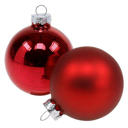 Christmas ball glass Ø6cm red mix 24pcs