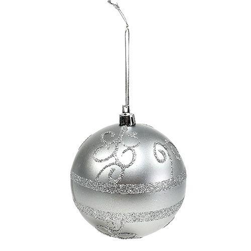Christmas ball silver Ø8cm plastic 1pc