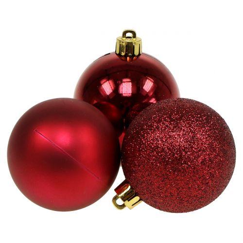 Christmas ball ruby red mix Ø6cm 10pcs