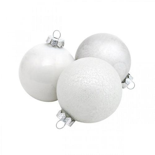 Tree pendant, snow globe, Christmas tree decorations, winter decoration white H4.5cm Ø4cm real glass 24pcs
