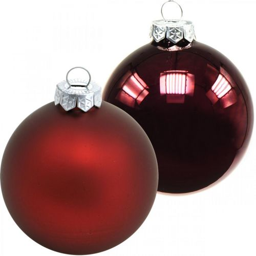 Christmas balls, Christmas tree decorations, glass balls wine red H8.5cm Ø7.5cm real glass 12pcs